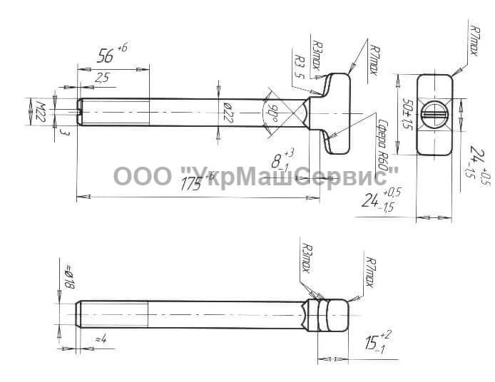 Болт закладной М22x175